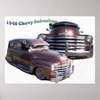 Impresión suburbana 1948 del arte de Chevy III Póster