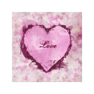 Impresión sucia de la lona de los corazones lona estirada galerías
