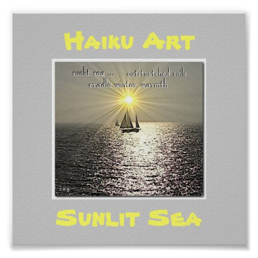 Impresión Sunlit del arte del Haiku del mar Posters