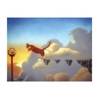 """Impresión surrealista """"salto de la lona de arte de lienzo envuelto para galerias"""