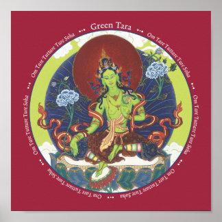 IMPRESIÓN Tara verde - con mantra Poster