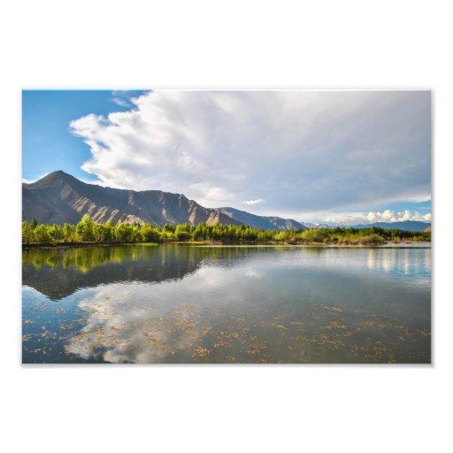 Impresión tibetana de la foto del paisaje