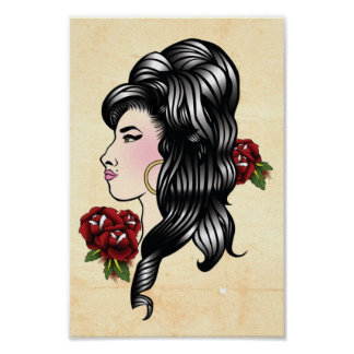 Impresión tradicional gitana del tatuaje del Amy Posters