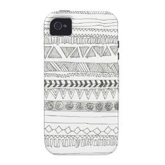 Impresión tribal azteca blanco y negro iPhone 4 carcasa