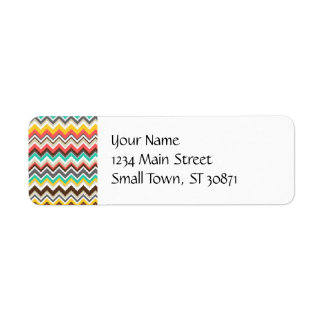 Impresión tribal azteca colorida de las rayas del etiqueta de remitente