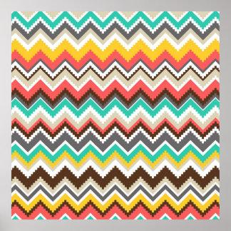 Impresión tribal azteca colorida de las rayas del póster