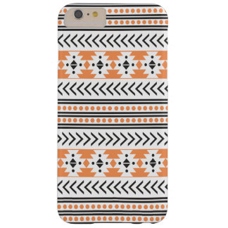 Impresión tribal azteca de moda Pattern|Orange Funda De iPhone 6 Plus Barely There