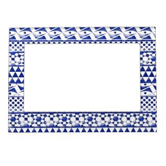 Impresión tribal azteca Pattrn del extracto azul Marcos Magnéticos