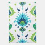 Impresión tribal azul y verde brillante fresca del toalla