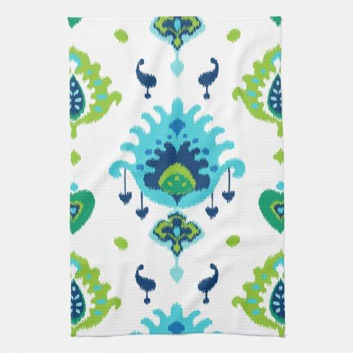Impresión tribal azul y verde brillante fresca del toalla de cocina