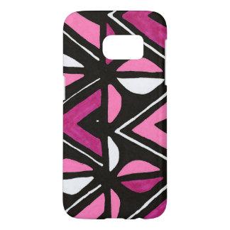 Impresión tribal de Mudcloth del africano rosado Funda Samsung Galaxy S7
