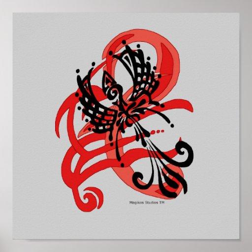 Impresión tribal del cuervo póster