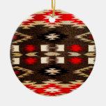 Impresión tribal del diseño de Navajo del nativo Adorno Navideño Redondo De Cerámica