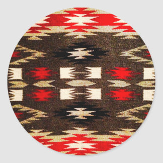 Impresión tribal del diseño de Navajo del nativo Pegatina Redonda