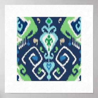 impresión tribal del verde azul del modelo moderno impresiones