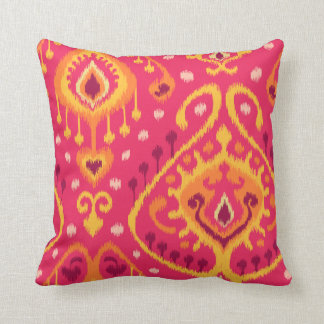 Impresión tribal rosada y anaranjada vibrante eleg almohada