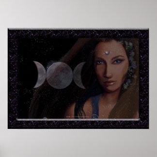 Impresión triple de la luna posters
