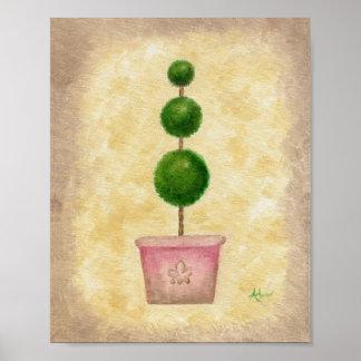 Impresión triple del arte del Topiary del globo Poster