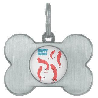 Impresión Trippy de la salchicha Placas De Nombre De Mascota