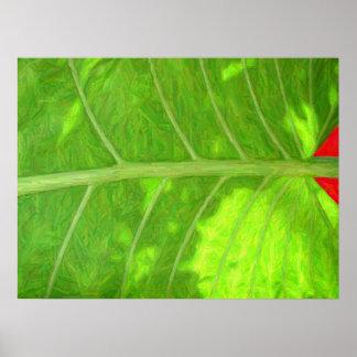 Impresión tropical de la hoja póster