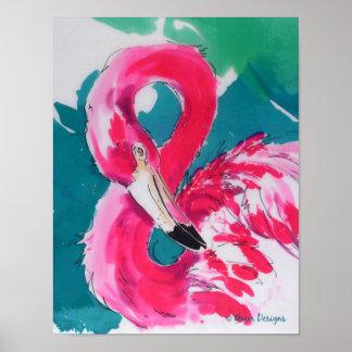 Impresión tropical del arte del pájaro fabuloso de póster