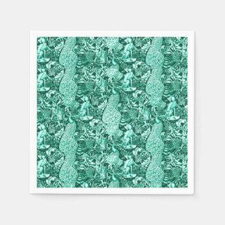 Impresión, turquesa y aguamarina del pavo real de servilletas de papel