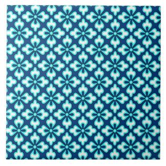 Impresión, turquesa y añil florales del kimono azulejo cerámica
