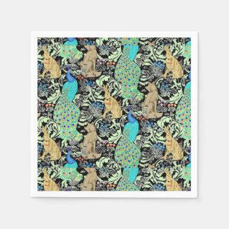 Impresión, turquesa y neutrales del pavo real de servilletas desechables