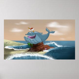 Impresión varada de la ballena póster