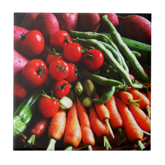 Impresión vegetal del jardín vegetariano azulejo cuadrado pequeño