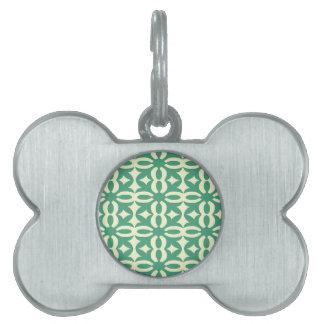Impresión verde de encaje del Victorian de Seafoam Placas Mascota