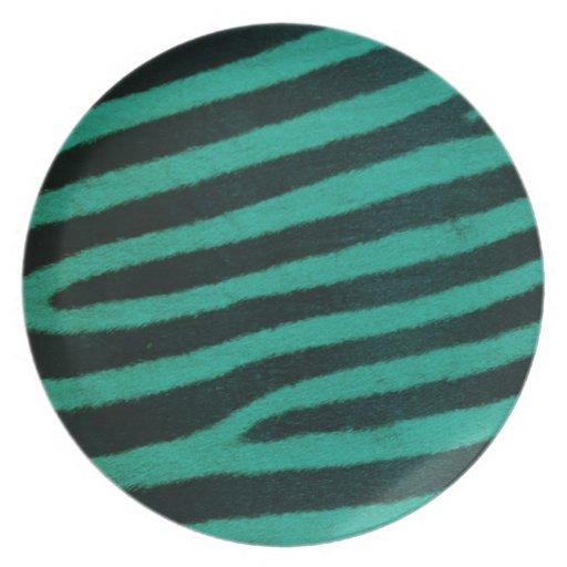Impresión verde de la cebra platos para fiestas