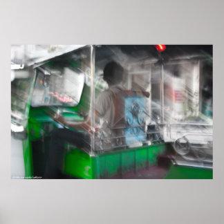 Impresión verde de la foto de Tuk-Tuk Póster