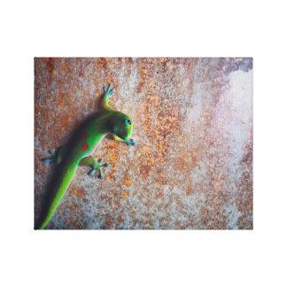 Impresión verde de la lona del Gecko Impresiones En Lona Estiradas
