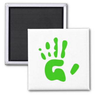 Impresión verde de la mano imán cuadrado