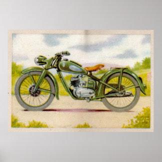 Impresión verde de la motocicleta del vintage poster
