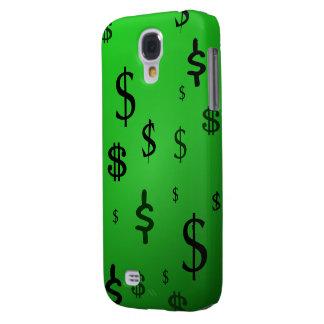 Impresión verde de la muestra de dólar funda para galaxy s4