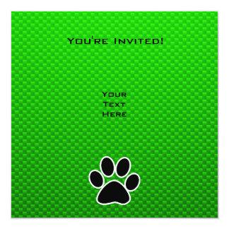 Impresión verde de la pata invitación 13,3 cm x 13,3cm