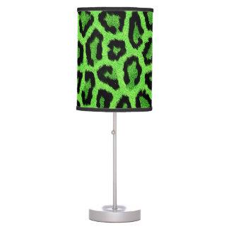 Impresión verde de la piel del leopardo lámpara de escritorio