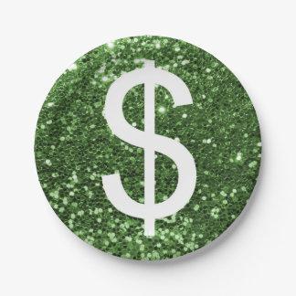 Impresión verde del dinero de la muestra de dólar platos de papel