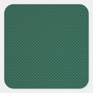 Impresión verde del estilo de la fibra de carbono pegatina cuadrada