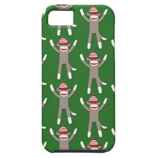 Impresión verde del mono del calcetín iPhone 5 Case-Mate cárcasa