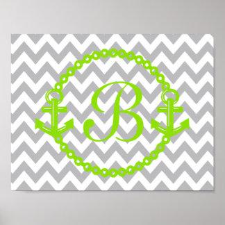 Impresión verde del monograma del ancla de Chevron Posters