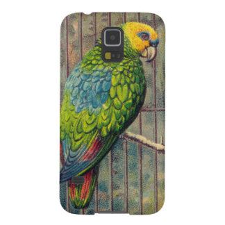 Impresión verde del Parakeet del vintage Carcasas De Galaxy S5