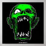 Impresión verde del poster del zombi