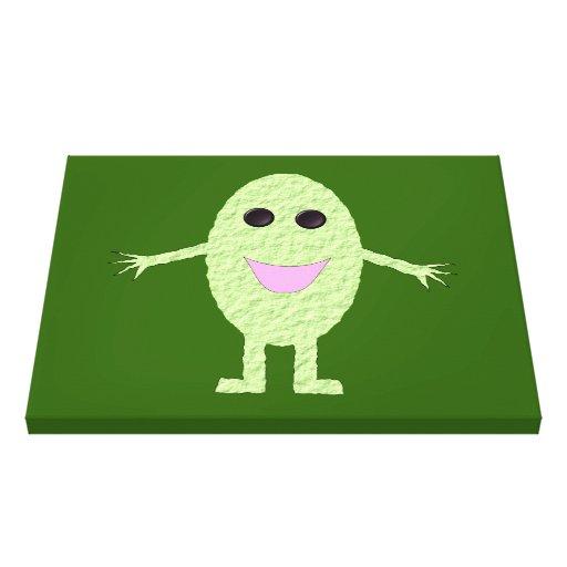 Impresión verde feliz de la lona de la uva lienzo envuelto para galerías