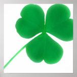 Impresión verde irlandesa de la lona del trébol poster