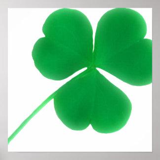 Impresión verde irlandesa de la lona del trébol póster