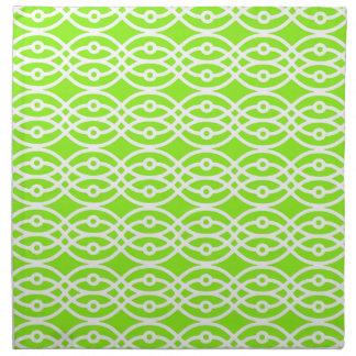Impresión verde lima y blanco del kimono servilletas imprimidas