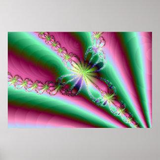 Impresión verde rosada del poster de la cruz del f
